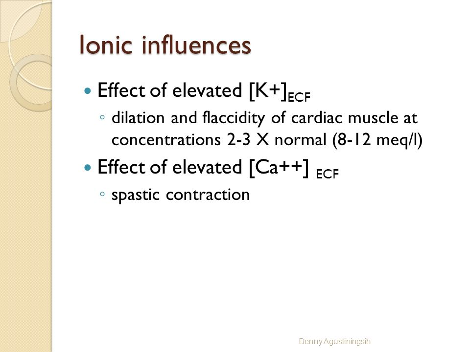 Ionic influences Effect of elevated [K+]ECF
